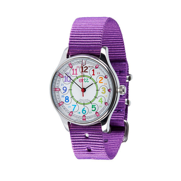 Waterproof EasyRead Time Teacher 12/24HR Watch: Rainbow Face with Purple Strap