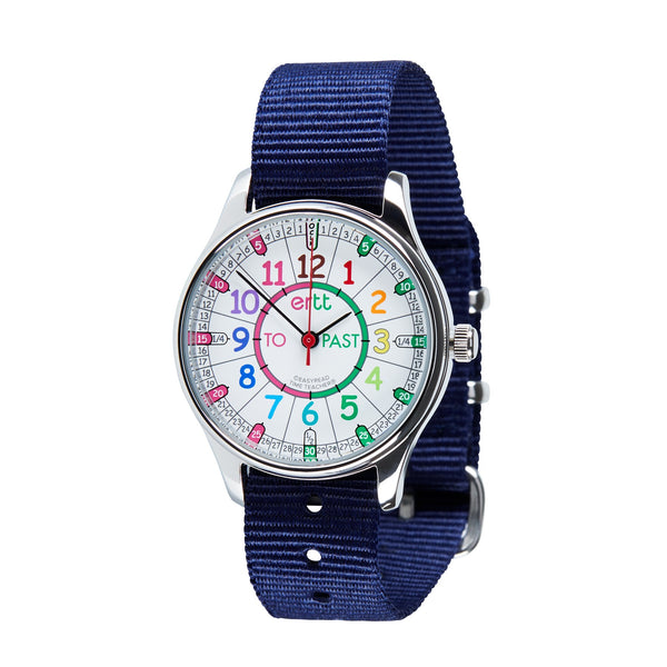 Waterproof EasyRead Time Teacher Past/To Watch: Rainbow Face with Navy Strap