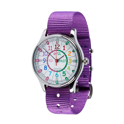 Waterproof EasyRead Time Teacher Past/To Watch: Rainbow Face with Purple Strap
