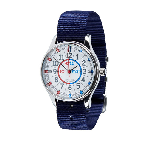 Waterproof EasyRead Time Teacher Past/To Watch: Red/Blue Face with Navy Strap