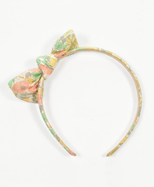 Pretty Wild Zoe Bow Headband Liberty Daisy Lime
