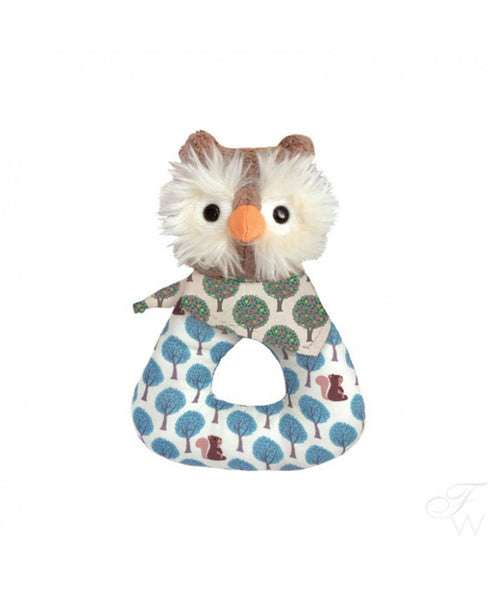 Apple Park Owl Patterned Rattle