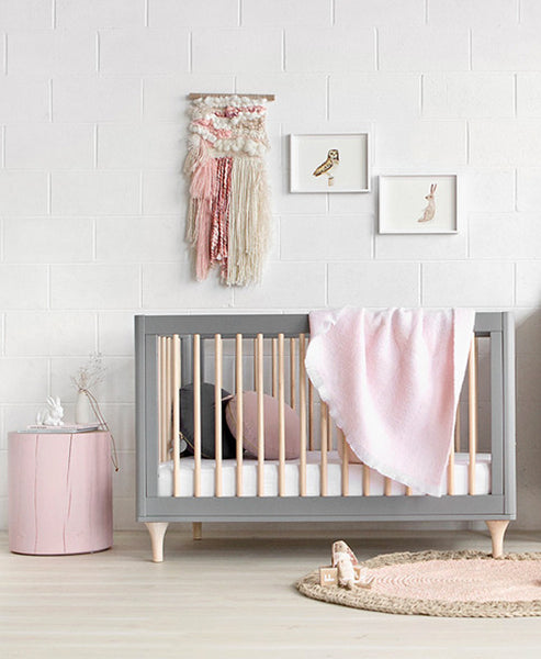 Babyletto Lolly Cot - Grey Wash / Natural - Includes Additional Side Rail. (mattress not included)