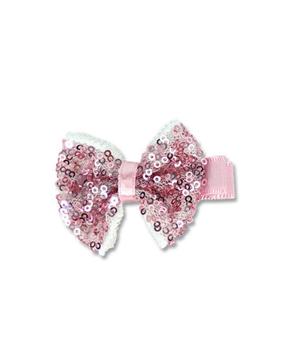 Milk & Soda Sequins Bow Clip Rose Pink