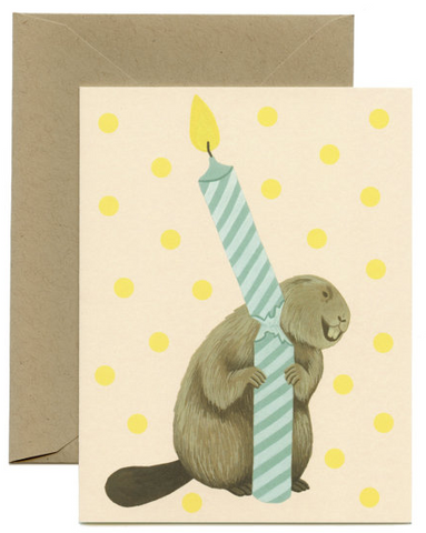 Yeppie Paper Beaver Candle Card