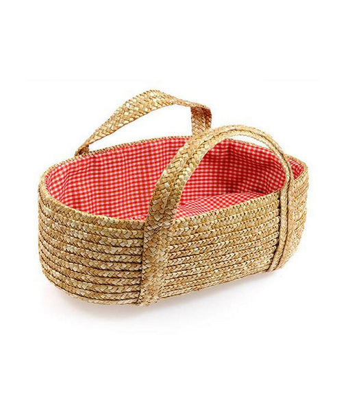 Egmont Soft Straw Baby Moses Basket with Red Lining