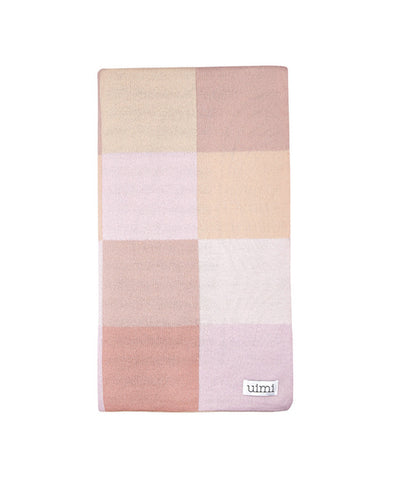 Uimi Frankie Double Sided Patchwork Merino Blanket. Size: Cot. Colour: Carnation