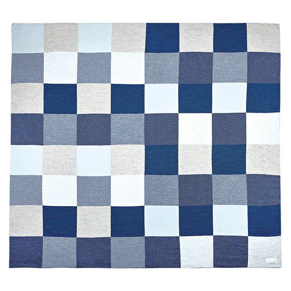 Uimi Frankie Double Sided Patchwork Merino Blanket. Size: Cot. Colour: Denim
