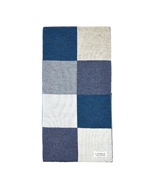 Uimi Frankie Double Sided Patchwork Merino Blanket. Size: Bassinet. Colour: Denim