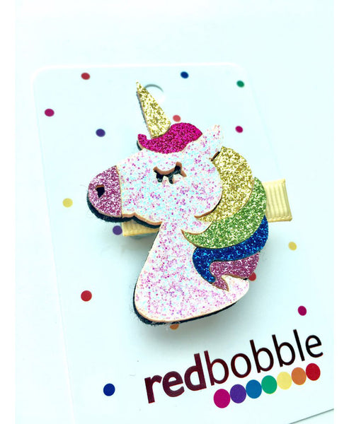 Red Bobble Multi Glitter Unicorn Clip