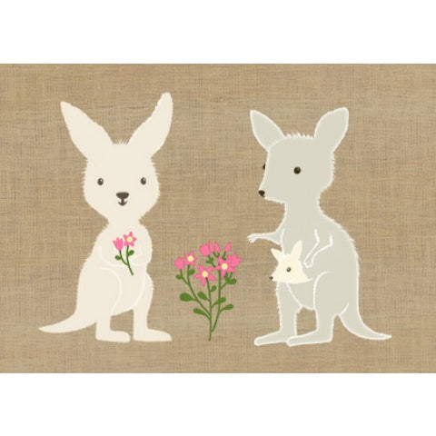 Gillian Mary Super Cute Card Kangaroo Family