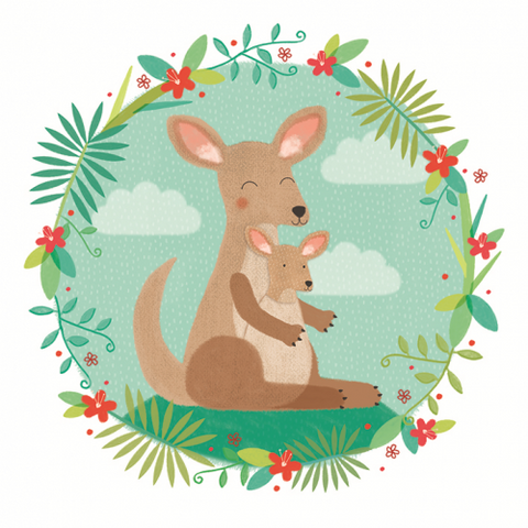 Sledge Illustrations Kangaroo and Joey Baby Card