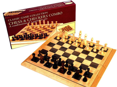 "Classic Games Collection Chess and Checkers 16"" Bevel Edge"