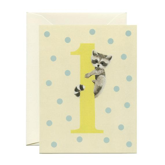 Yeppie Paper Racoon First Birthday Card