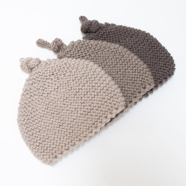 Knitted by Nana Beanie: Mocha 3-9M
