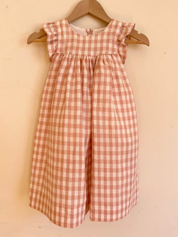 Pretty Wild Tia Dress Pink Check Linen