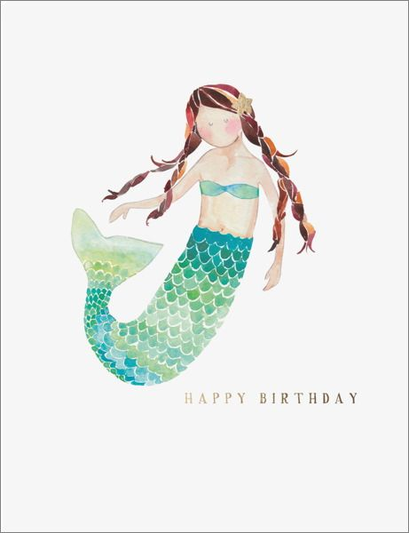 E. Francis Foil Card Mermaid Birthday