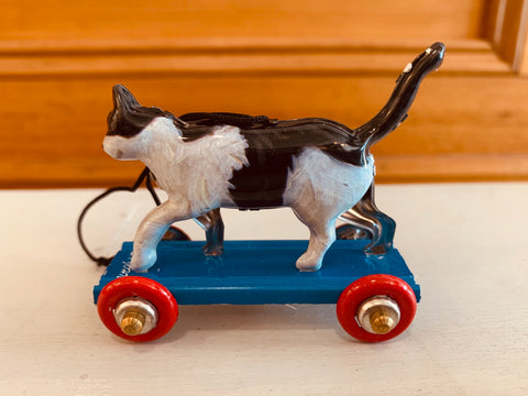 St John Tin Toy Collection Series Miniature Ornament - Cat on wheels