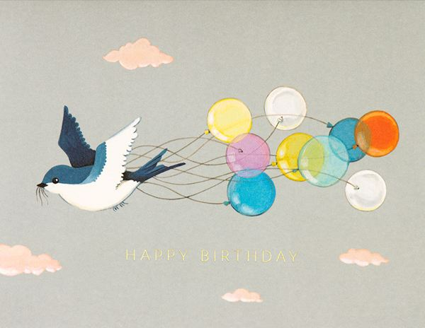 Joojoo Paper Swallow and Balloons Birthday Card