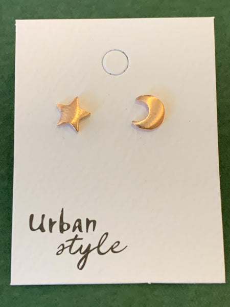 Urban Style Rose Gold Moon and Stars Stud Earrings