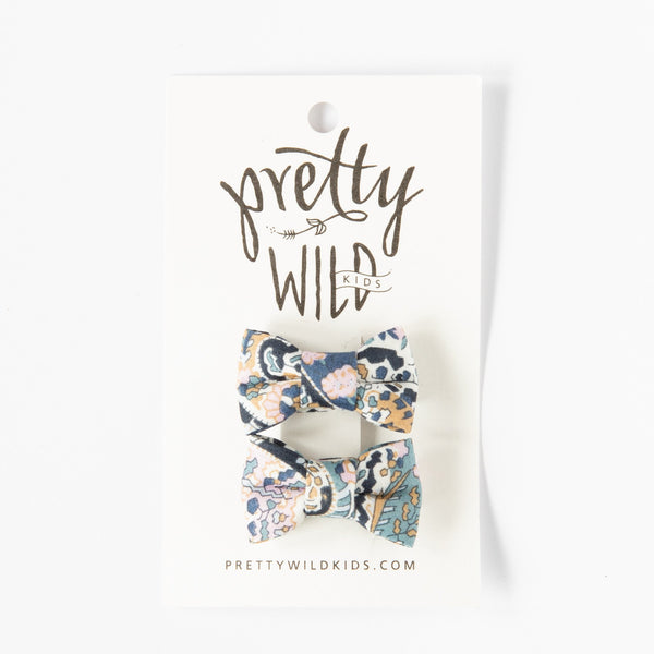 Pretty Wild Katie Twin Bow Clip Liberty English Paisley