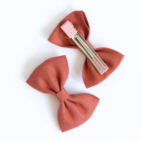 Pretty Wild Georgie Single Bow Coral Linen
