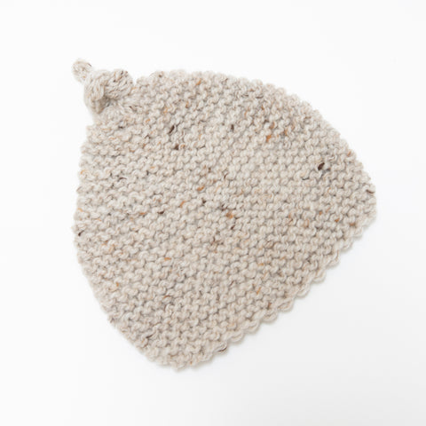 Knitted by Nana Beanie - Natural Tweed 3-9M