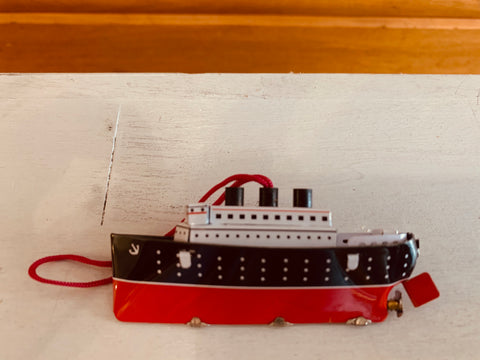 St John Tin Toy Collection Series Miniature Ornament - Ship