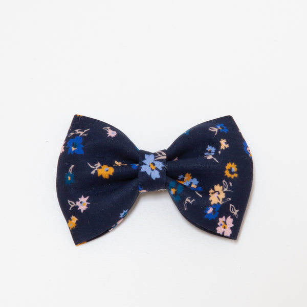 Pretty Wild Georgie Single Bow Clip - Floral Navy