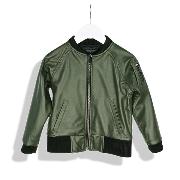 Laer LA Green Utility Bomber Leather Jacket
