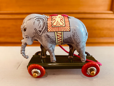 St John Tin Toy Collection Series Miniature Ornament - Elephant on wheels