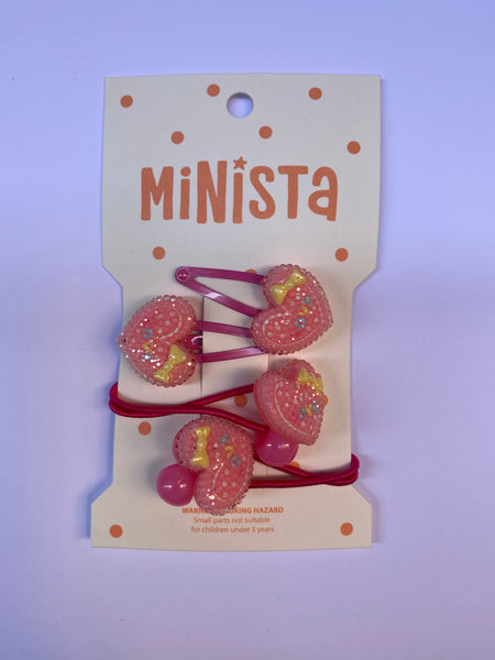 Minista Mini Heart Set of 3 Snap Clips