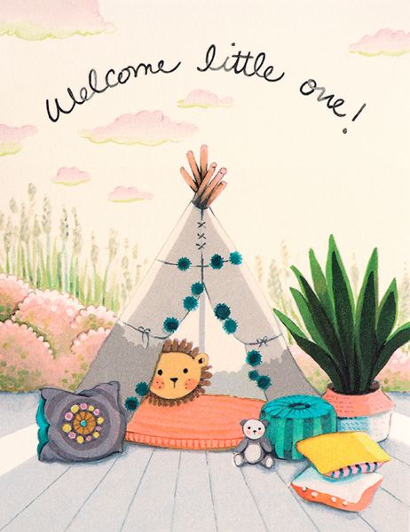 Joojoo Paper Welcome Little One Tee Pee Baby Card