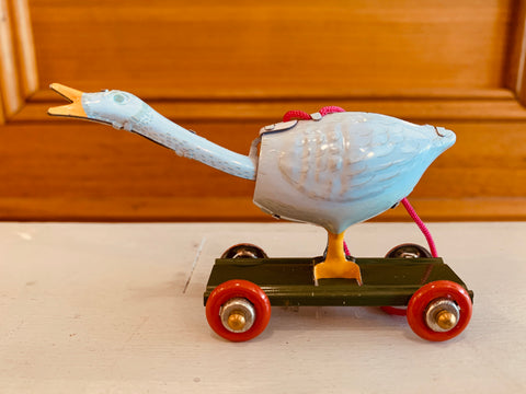 St John Tin Toy Collection Series Miniature Ornament - Goose on wheels