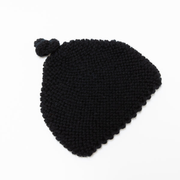 Knitted By Nana Beanie - Black 3-9M