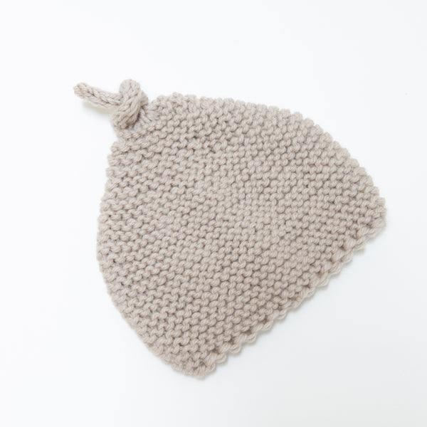 Knitted by Nana Beanie: Stone 3-9M