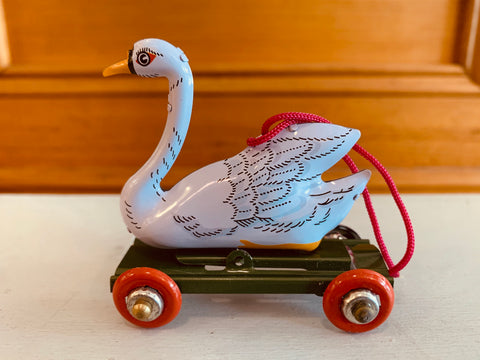 St John Tin Toy Collection Series Miniature Ornament - Swan on wheels