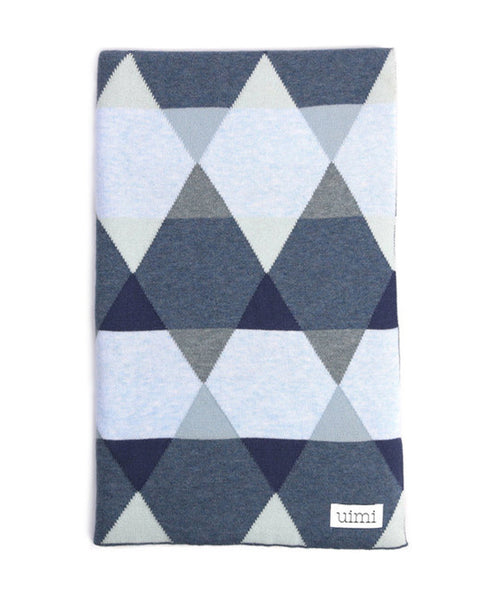 Uimi Cotton Isaac Geometric Blanket Size: Cot Colour: Denim