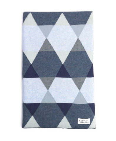Uimi Cotton Isaac Geometric Blanket Size: Bassinet Colour: Denim