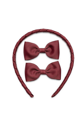 Pretty Wild Kimi with Matching Bows Set: Burgundy