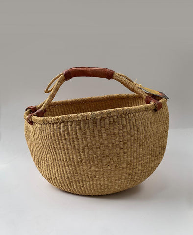 Inside Africa Genuine Hand Woven Round Plain Basket