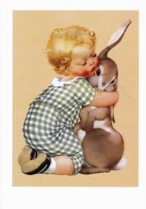 Laughing Elephant Boy Hugging Rabbit