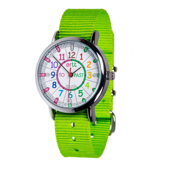 EasyRead Time Teacher Past/To Watch Rainbow with Lime Strap
