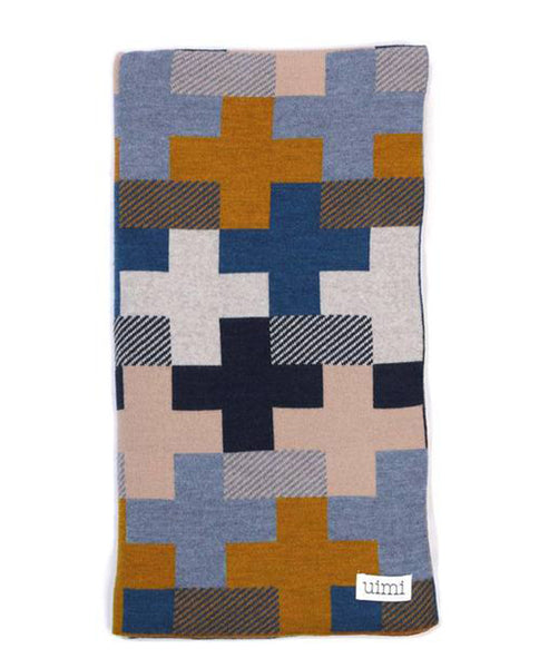 Uimi Max Double Sided Cross Pattern Merino Blanket. Size: Cot. Colour: Curry
