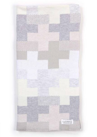 Uimi Max Double Sided Cross Pattern Egyptian Cotton Blanket. Size: Bassinet. Colour: Whisper