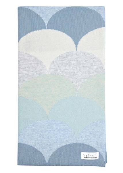 Uimi Memphis Double Sided Eqyptian Cotton Blanket. Size: Bassinet. Colour: Sky
