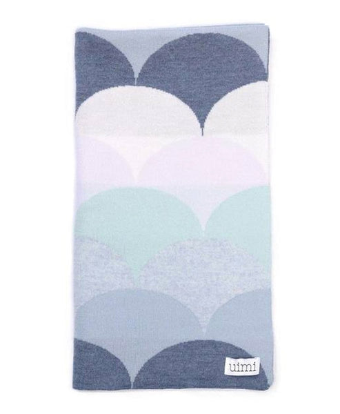 Uimi Memphis Double Sided Merino Blanket. Size: Bassinet. Colour: Indigo