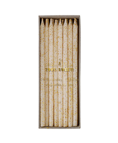 Meri Meri Gold Glitter Candles 24 Set