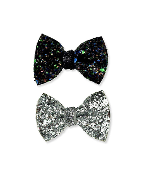 Milk & Soda Mini Glitter Twin Bow Black and Silver