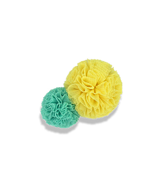 Milk & Soda Tulle Pom Pom Duck Clip - Mint/Yellow